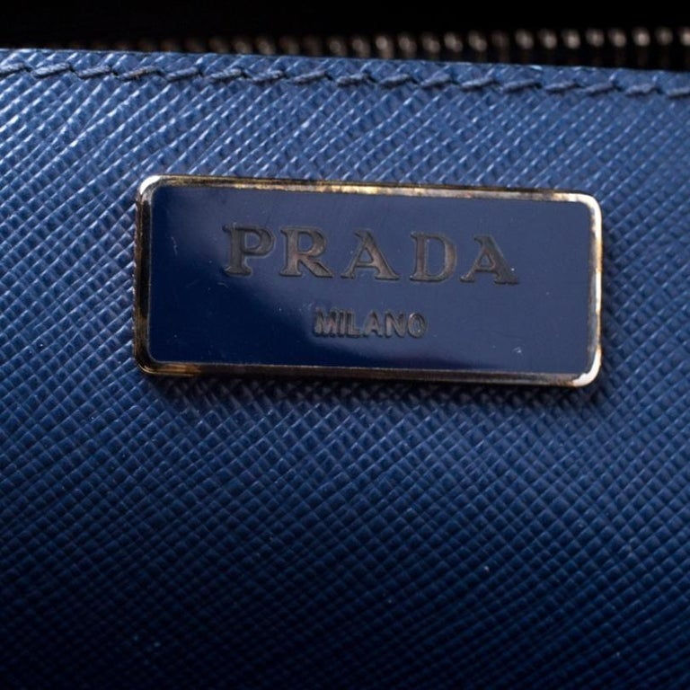Prada Blue Saffiano Lux Leather Medium Double Zip Tote 6