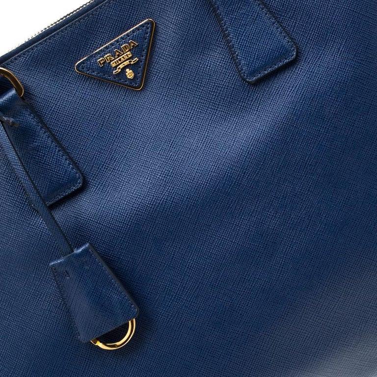 Prada Blue Saffiano Lux Leather Medium Double Zip Tote For Sale 7