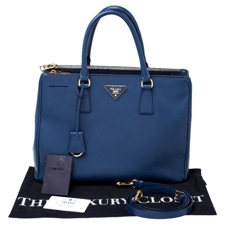 Prada Blue Saffiano Lux Leather Medium Double Zip Tote 7