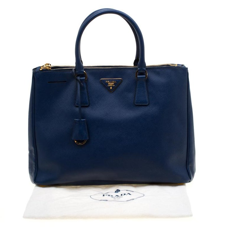 Prada Blue Saffiano Lux Leather Medium Double Zip Tote For Sale 8