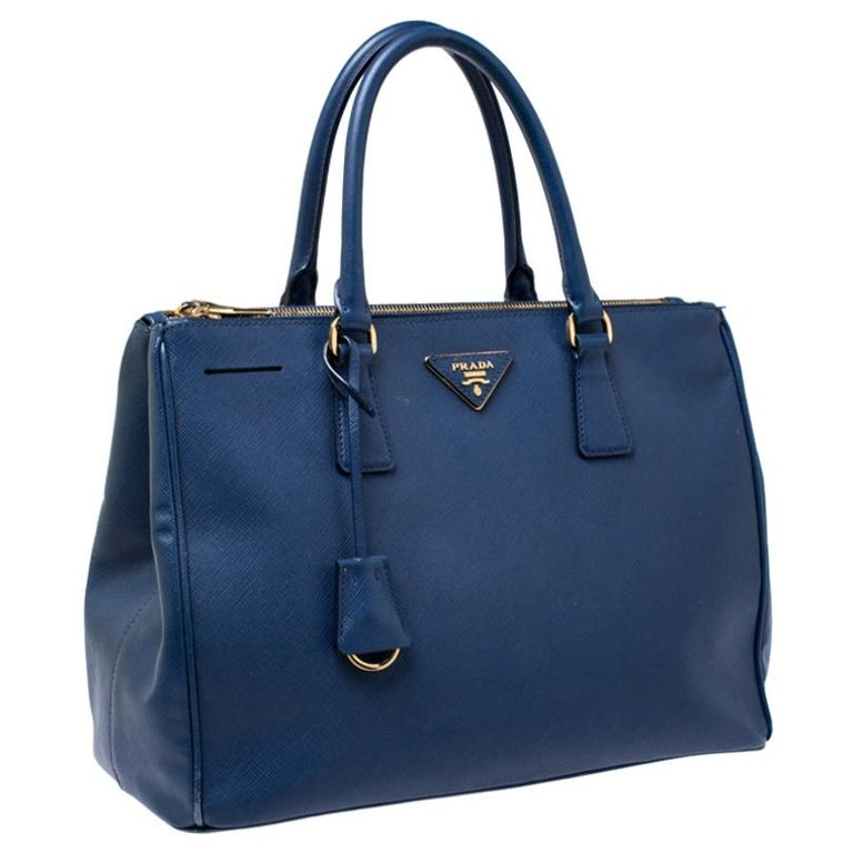 Women's Prada Blue Saffiano Lux Leather Medium Double Zip Tote