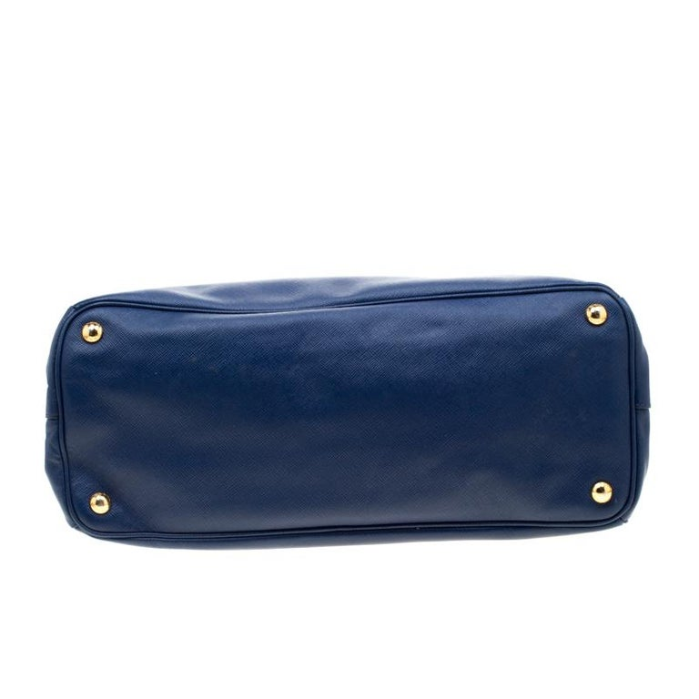 Prada Blue Saffiano Lux Leather Medium Double Zip Tote For Sale 1