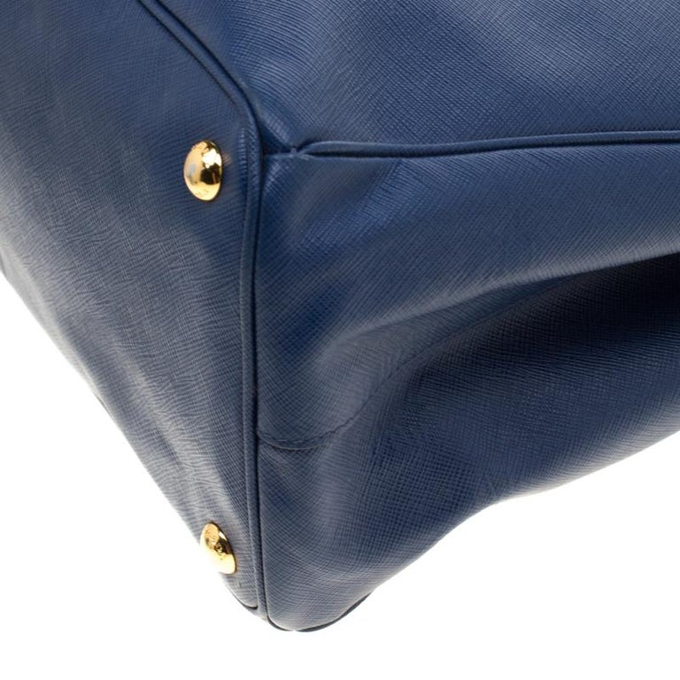 Prada Blue Saffiano Lux Leather Medium Double Zip Tote For Sale 2