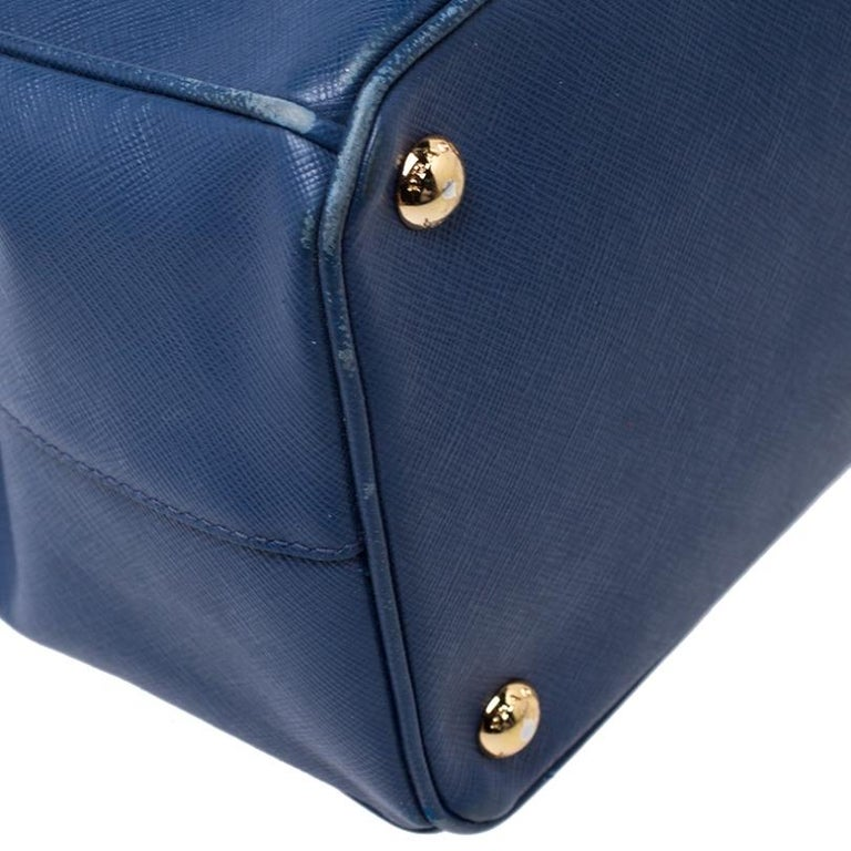 Prada Blue Saffiano Lux Leather Medium Double Zip Tote 2
