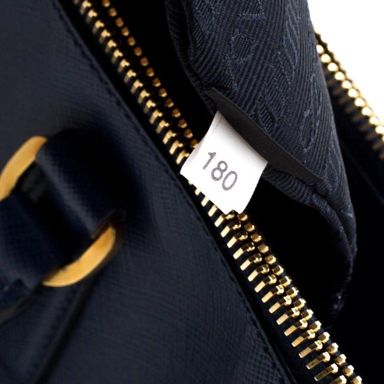 Prada Blue Saffiano Lux Leather Medium Double Zip Tote For Sale 3