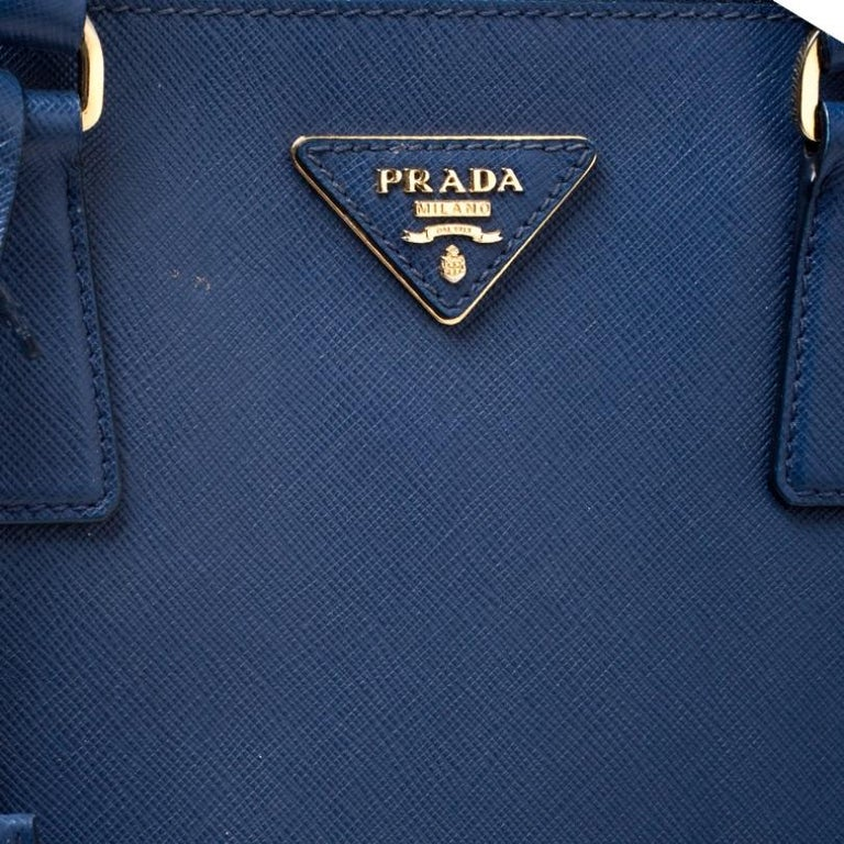 Prada Blue Saffiano Lux Leather Medium Double Zip Tote 3