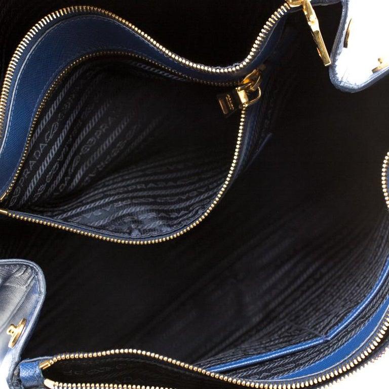 Prada Blue Saffiano Lux Leather Medium Double Zip Tote For Sale 5