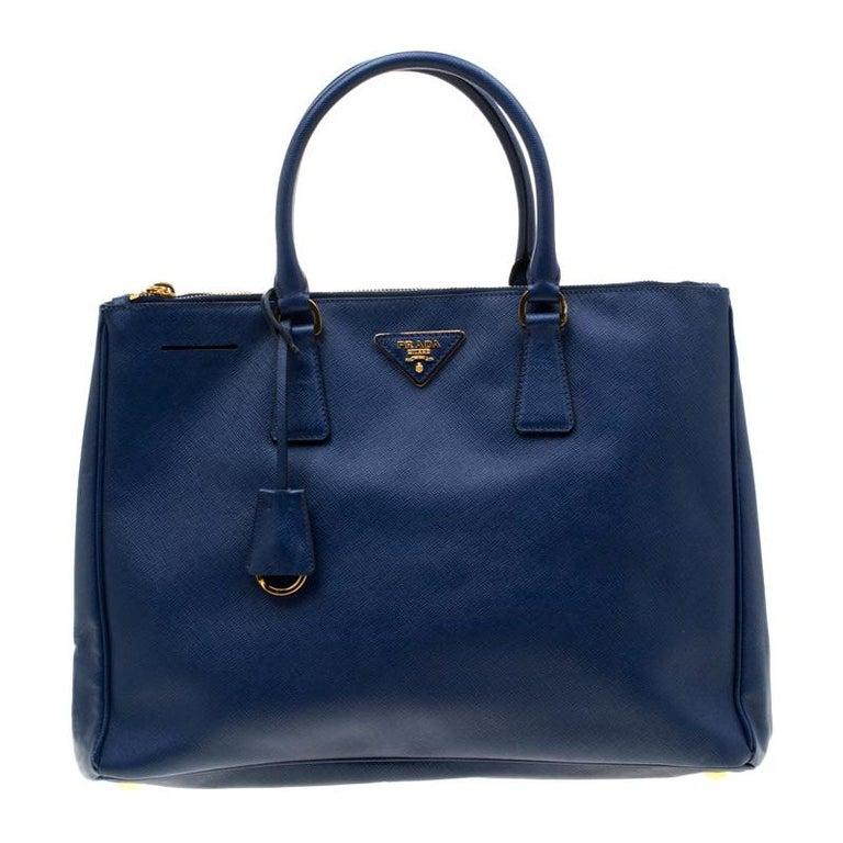 Prada Blue Saffiano Lux Leather Medium Double Zip Tote For Sale