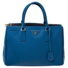 Prada Blue Saffiano Lux Leather Medium Double Zip Tote