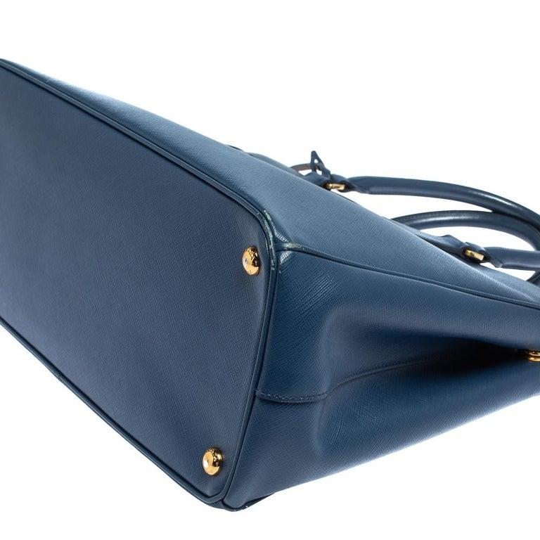 Prada Blue Saffiano Lux Leather Medium Galleria Double Zip Tote 6