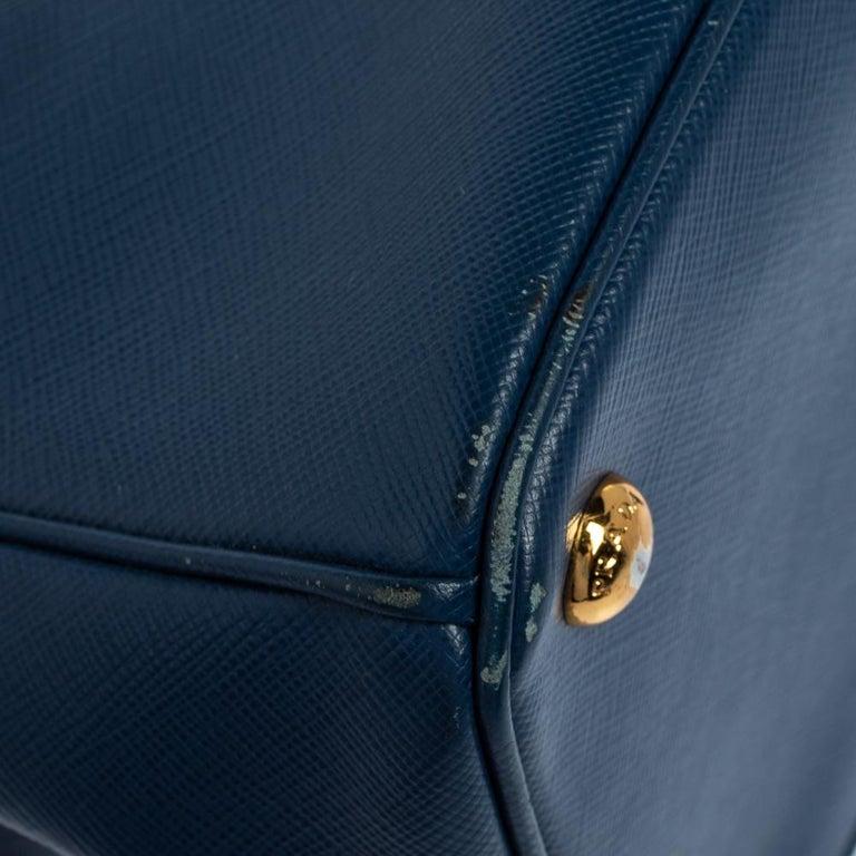 Prada Blue Saffiano Lux Leather Medium Galleria Double Zip Tote 8