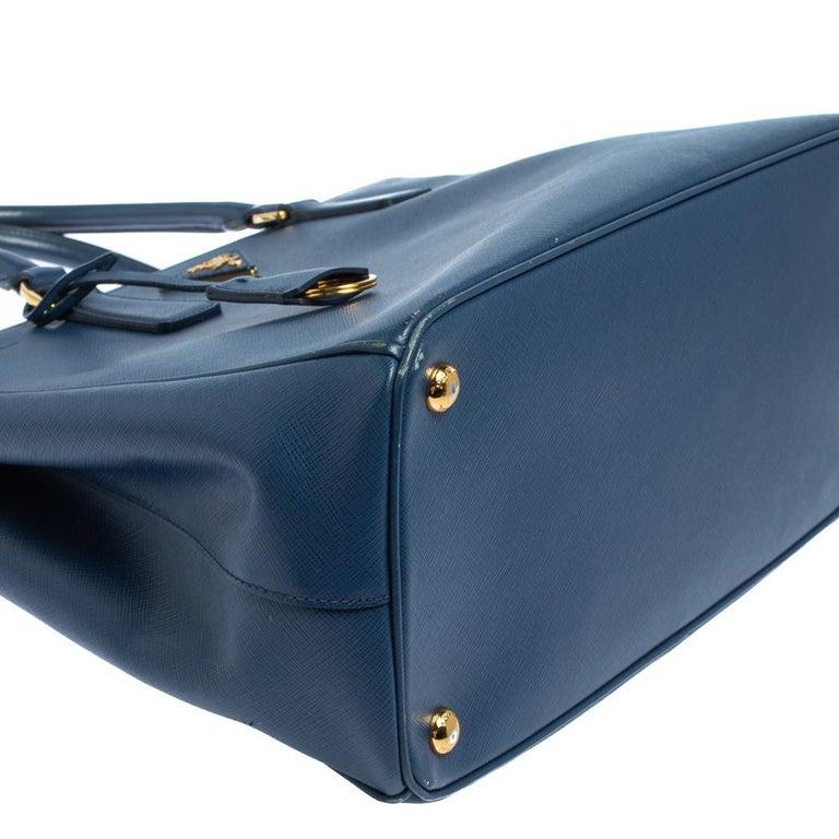 Prada Blue Saffiano Lux Leather Medium Galleria Double Zip Tote 9