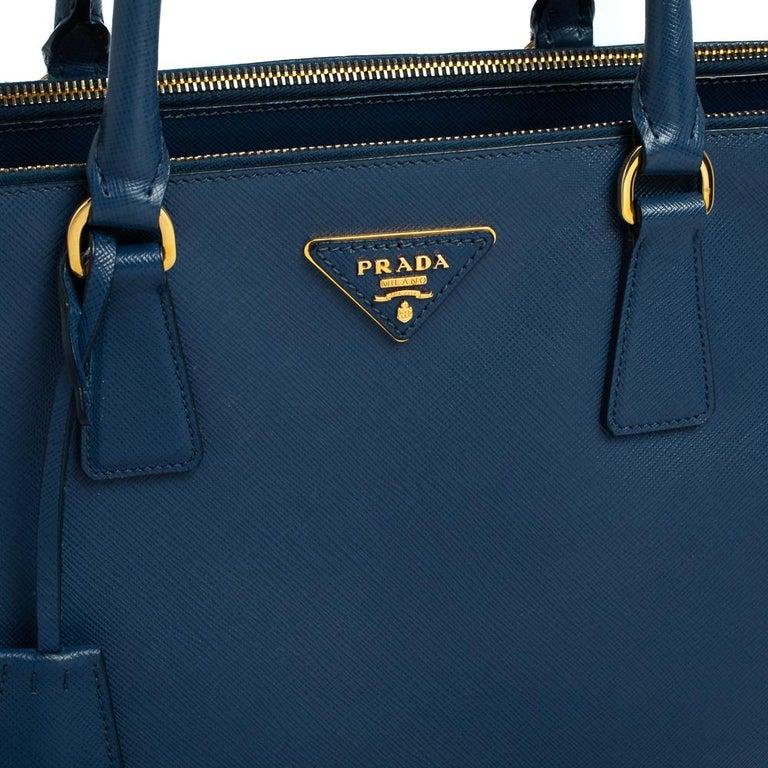 Prada Blue Saffiano Lux Leather Medium Galleria Double Zip Tote 10