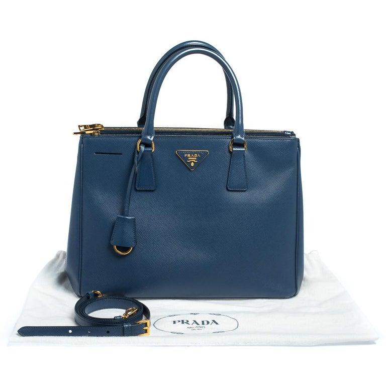 Prada Blue Saffiano Lux Leather Medium Galleria Double Zip Tote 11