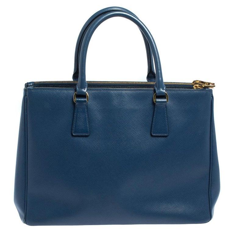 Women's Prada Blue Saffiano Lux Leather Medium Galleria Double Zip Tote