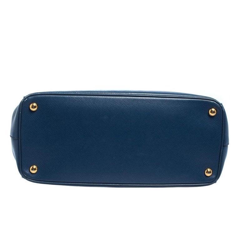 Prada Blue Saffiano Lux Leather Medium Galleria Double Zip Tote 1