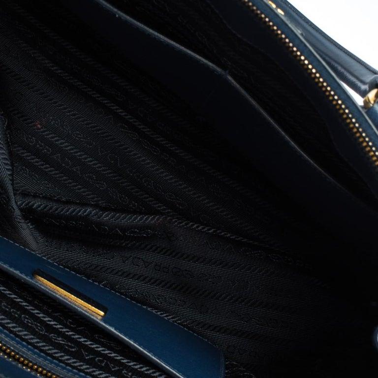 Prada Blue Saffiano Lux Leather Medium Galleria Double Zip Tote 2