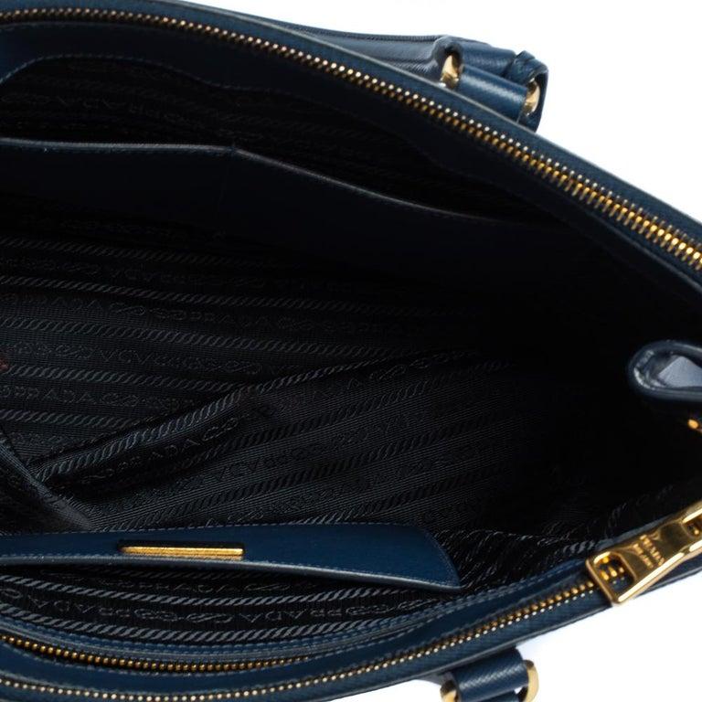Prada Blue Saffiano Lux Leather Medium Galleria Double Zip Tote 3