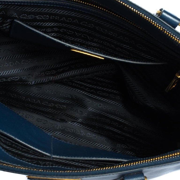Prada Blue Saffiano Lux Leather Medium Galleria Double Zip Tote 4
