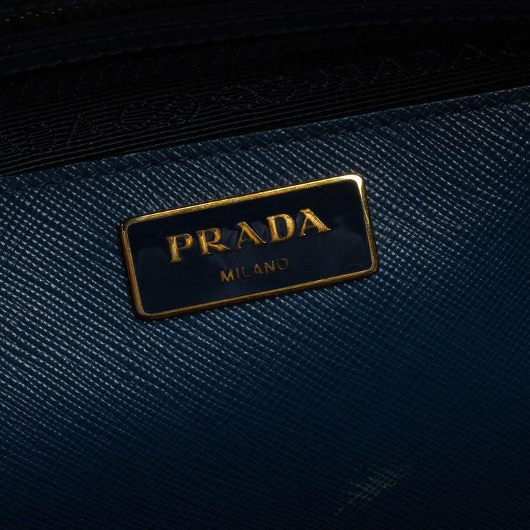 Prada Blue Saffiano Lux Leather Medium Galleria Double Zip Tote 5