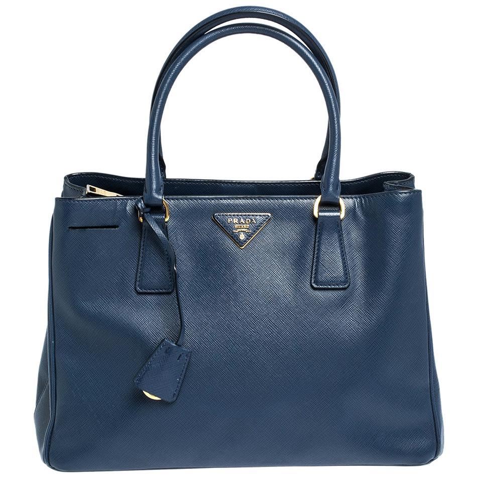 Prada Blue Saffiano Lux Leather Medium Galleria Tote