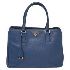 Prada Blue Saffiano Lux Leather Medium Open Tote