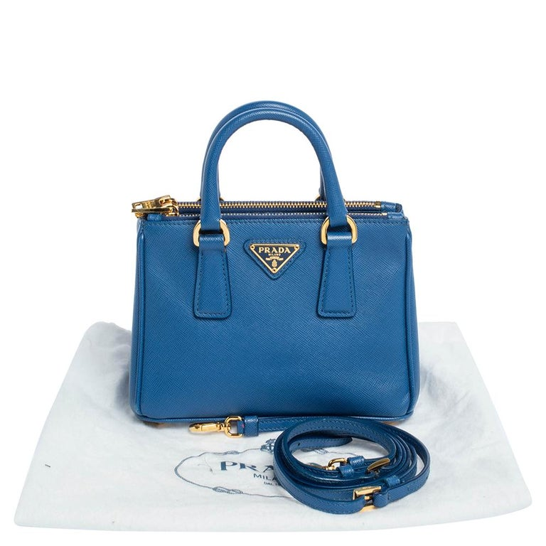 Prada Blue Saffiano Lux Leather Micro Double Zip Tote For Sale 7