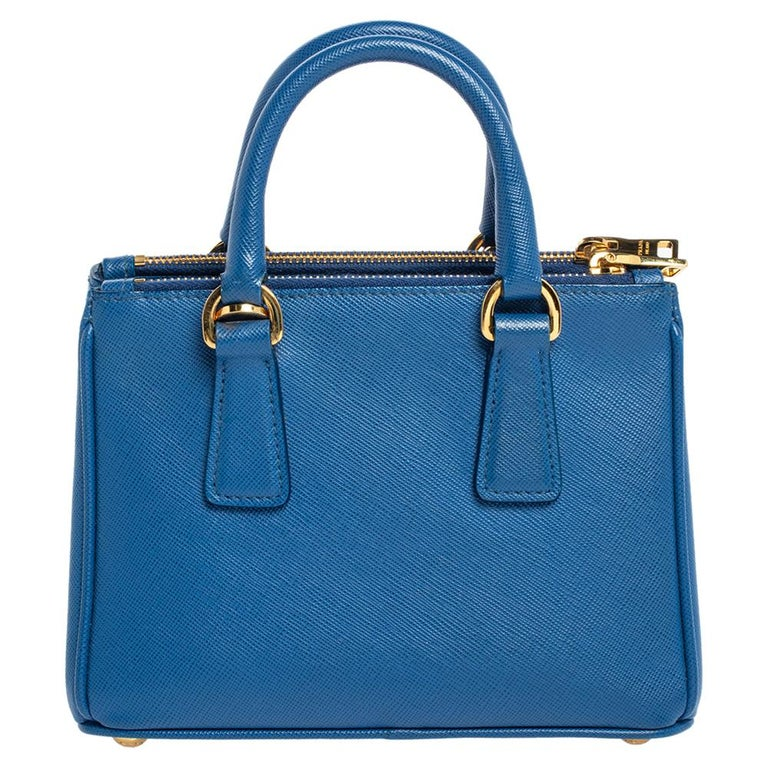 Prada Blue Saffiano Lux Leather Micro Double Zip Tote For Sale 1