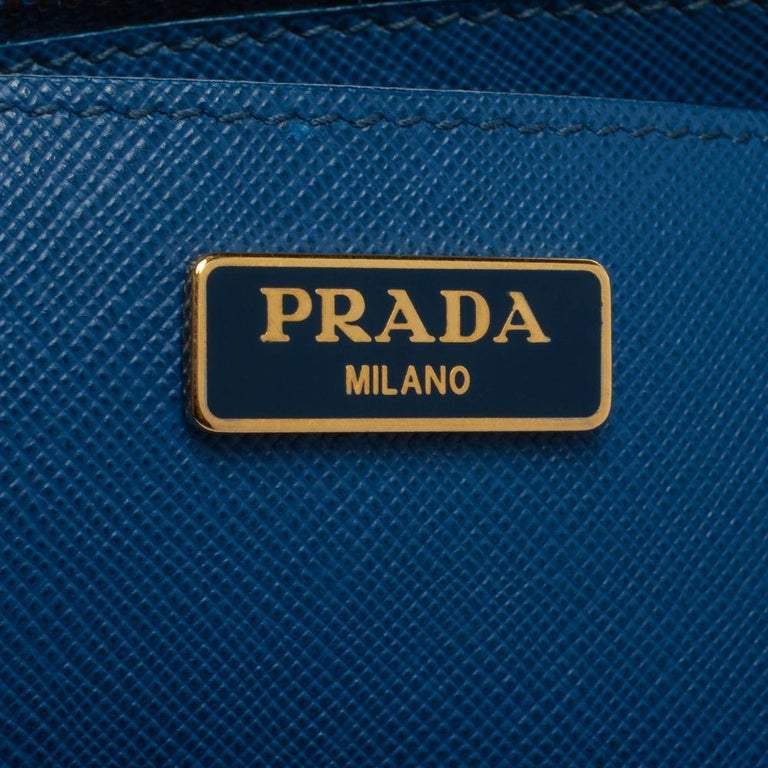 Prada Blue Saffiano Lux Leather Micro Double Zip Tote For Sale 3