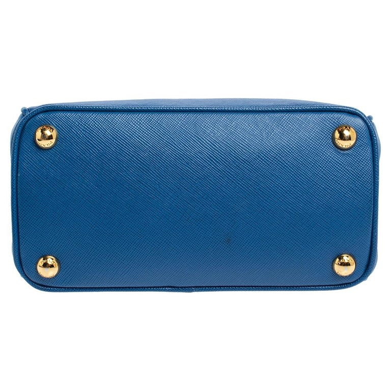Prada Blue Saffiano Lux Leather Micro Double Zip Tote For Sale 5