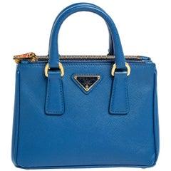Prada Blue Saffiano Lux Leather Micro Double Zip Tote
