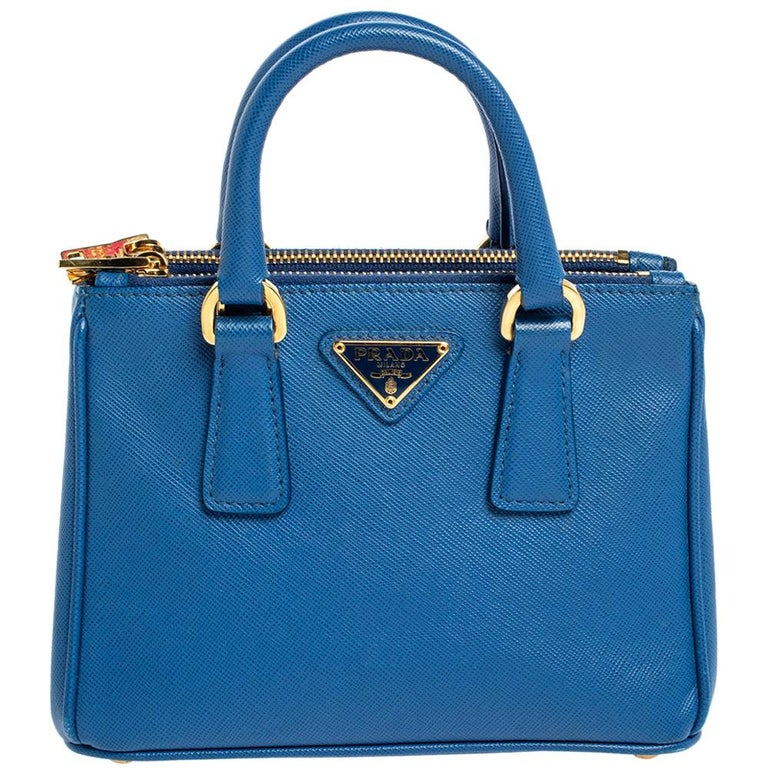 Prada Blue Saffiano Lux Leather Micro Double Zip Tote For Sale