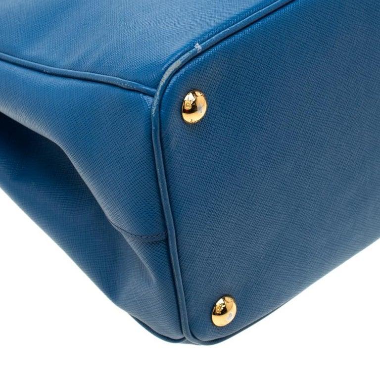 Prada Blue Saffiano Lux Leather Parabole Tote 6