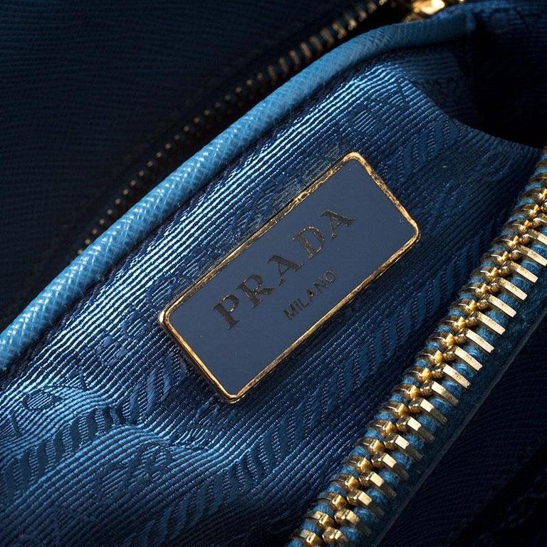 Prada Blue Saffiano Lux Leather Parabole Tote For Sale 6
