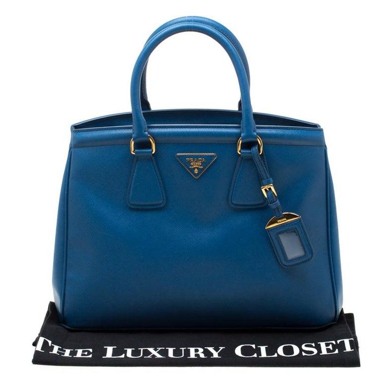 Prada Blue Saffiano Lux Leather Parabole Tote 7