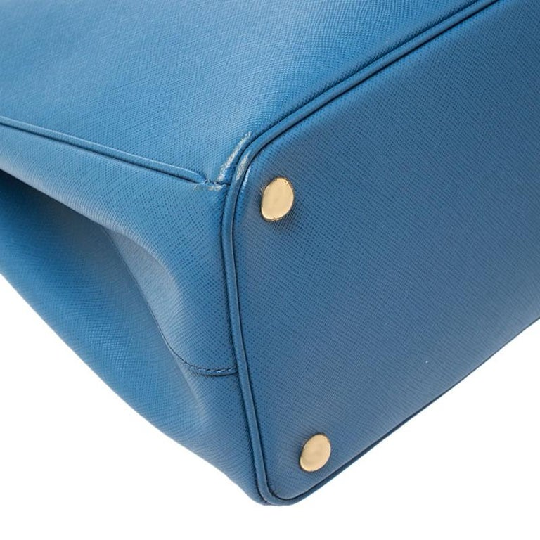 Prada Blue Saffiano Lux Leather Parabole Tote For Sale 7