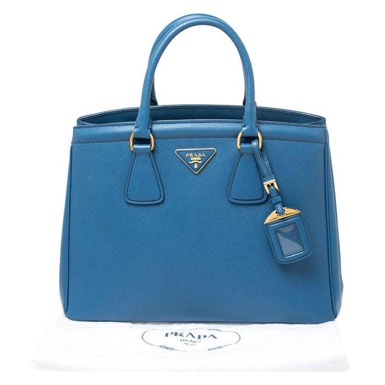 Prada Blue Saffiano Lux Leather Parabole Tote For Sale 8