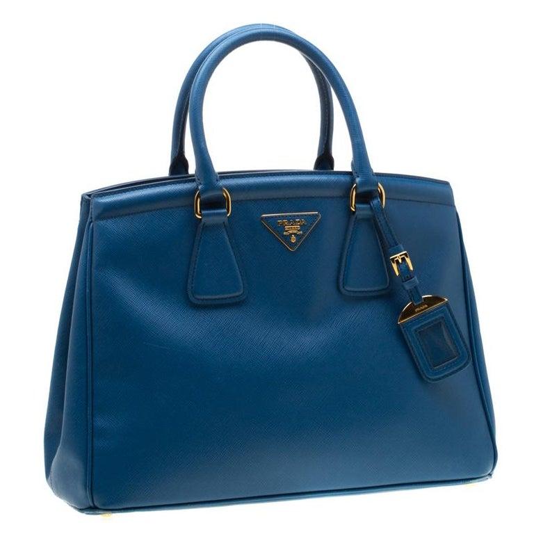 Women's Prada Blue Saffiano Lux Leather Parabole Tote