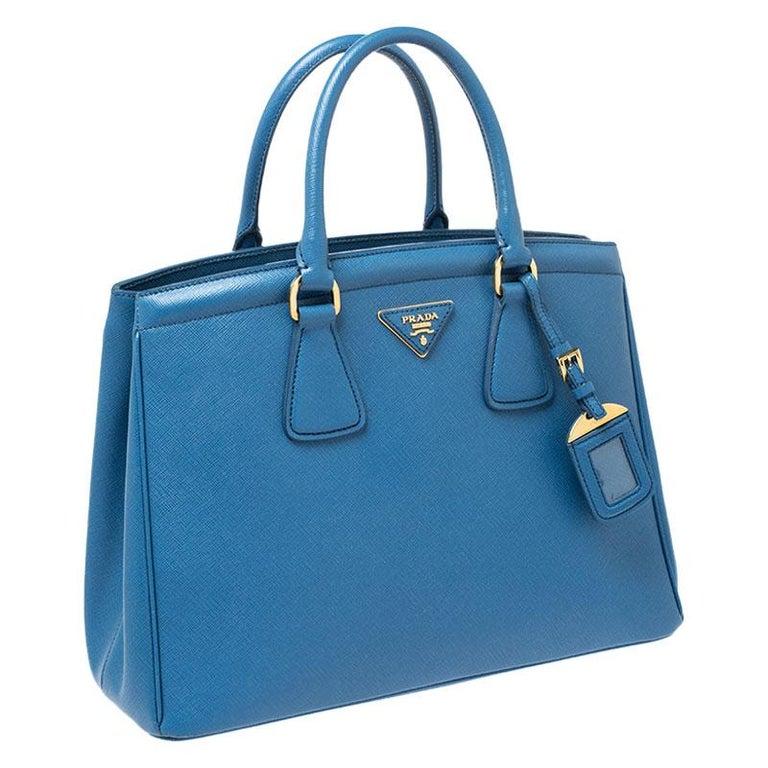 Women's Prada Blue Saffiano Lux Leather Parabole Tote For Sale