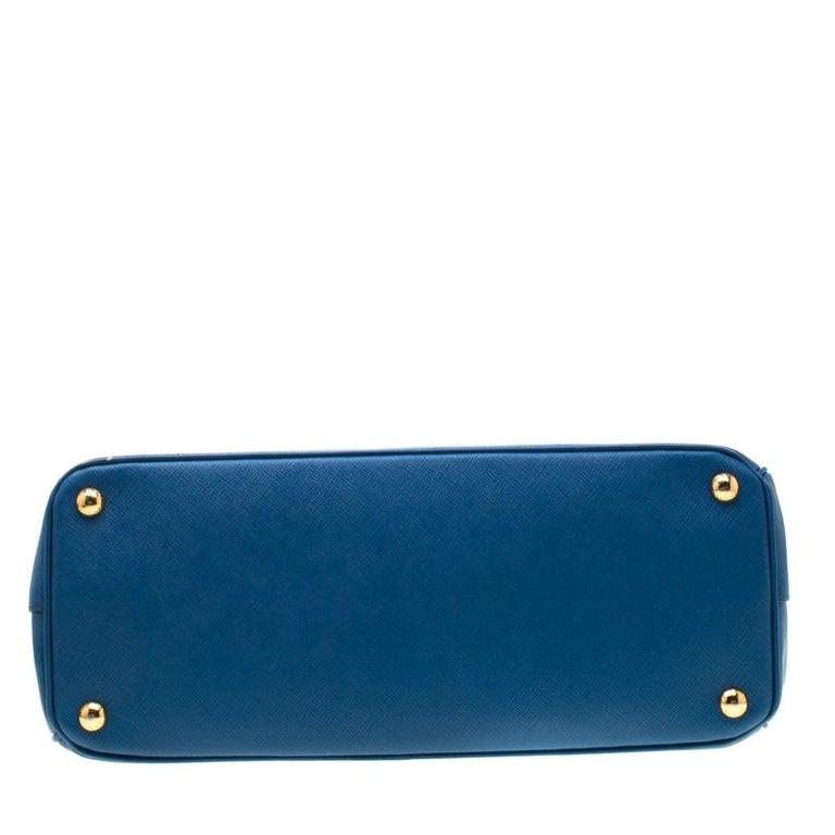 Prada Blue Saffiano Lux Leather Parabole Tote 1