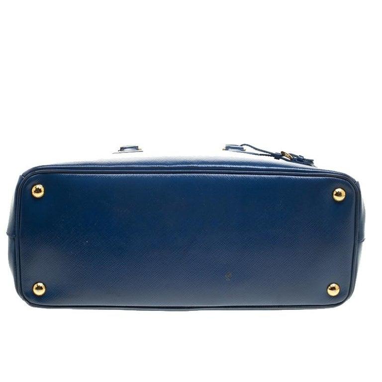 Prada Blue Saffiano Lux Leather Parabole Tote For Sale 1