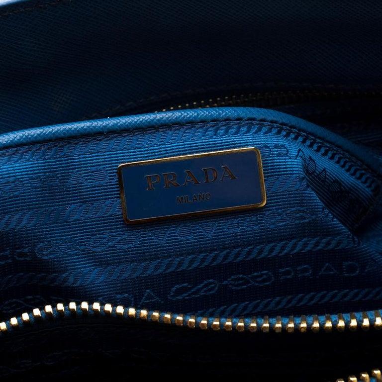 Prada Blue Saffiano Lux Leather Parabole Tote 2