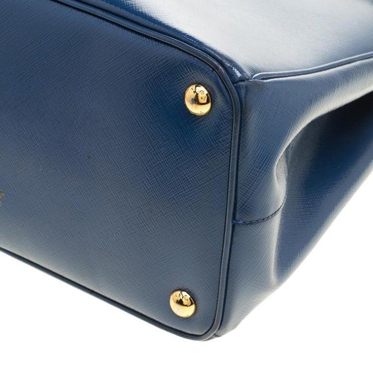 Prada Blue Saffiano Lux Leather Parabole Tote For Sale 2