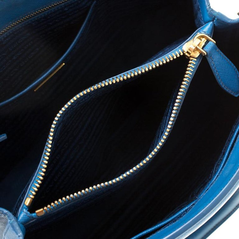 Prada Blue Saffiano Lux Leather Parabole Tote 3