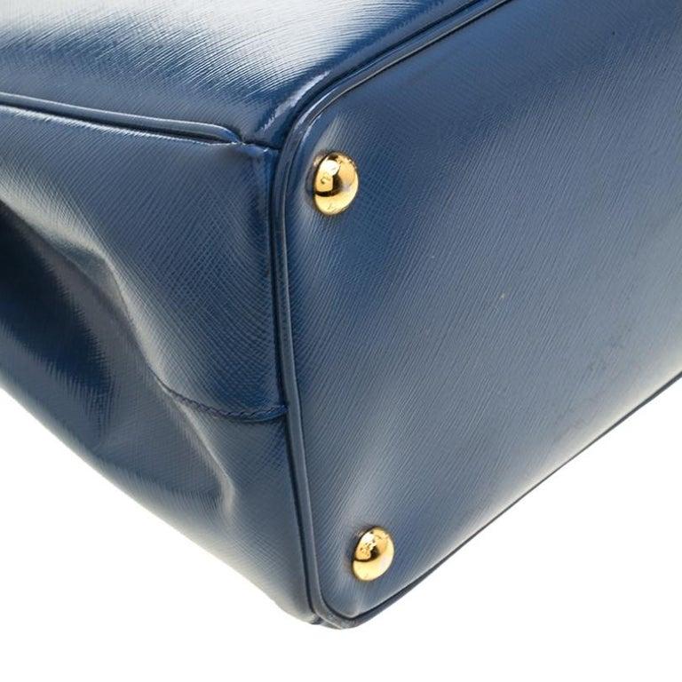Prada Blue Saffiano Lux Leather Parabole Tote For Sale 3