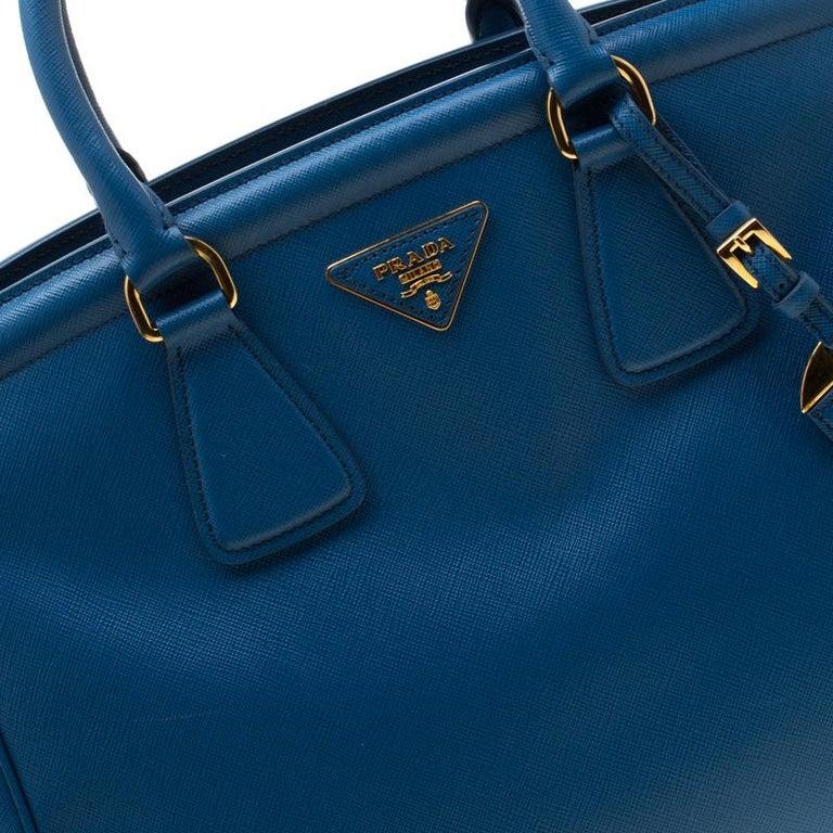 Prada Blue Saffiano Lux Leather Parabole Tote 4