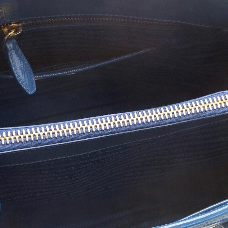 Prada Blue Saffiano Lux Leather Parabole Tote For Sale 4