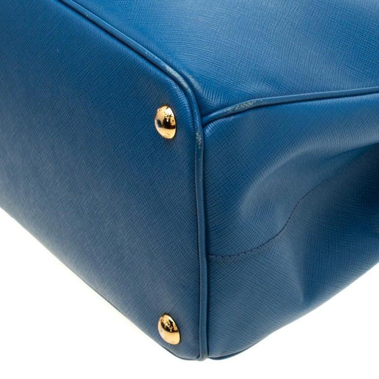Prada Blue Saffiano Lux Leather Parabole Tote 5