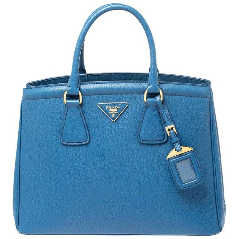 Prada Blue Saffiano Lux Leather Parabole Tote For Sale