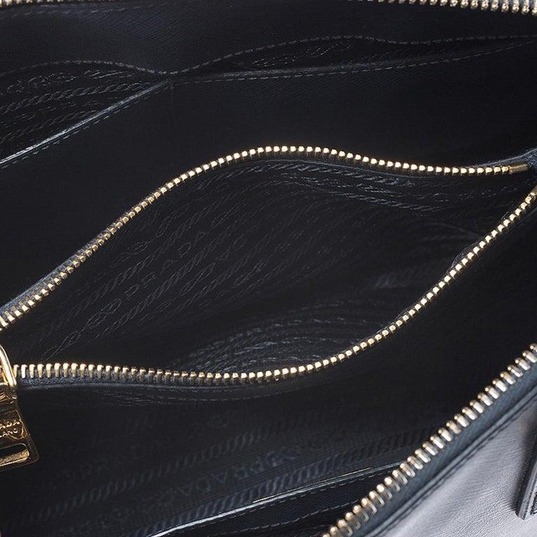 Prada Blue Saffiano Lux Leather Promenade Bag For Sale 6